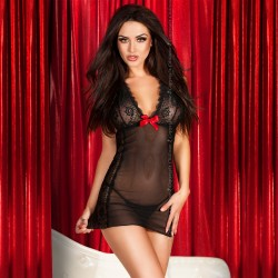 BABYDOLL AND STRING CR-3495 BLACK
