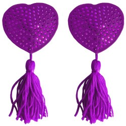 HEART NIPPLE TASSELS OUCH! NIPPLE COVERS PURPLE