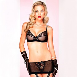 BLACK SET WITH LACE DETAILS AND BOWS