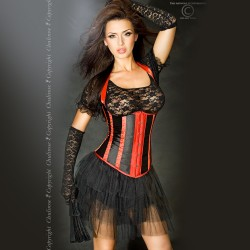 CORSET AND THONG CR-3281 BLACK AND RED