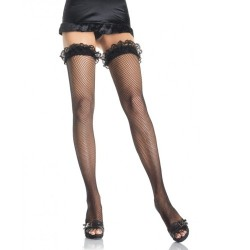 FISHNET THIGH HIGHS WITH LACE FRILLED TOP