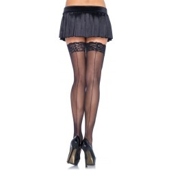 THIGH HIGHS WITH LACE TOP AND BACKSEAM